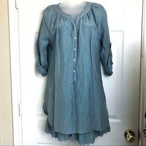Soft Surroundings cotton silk tunic lace hem S